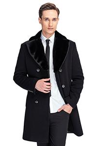 Мужское классическое пальто на меху - фото