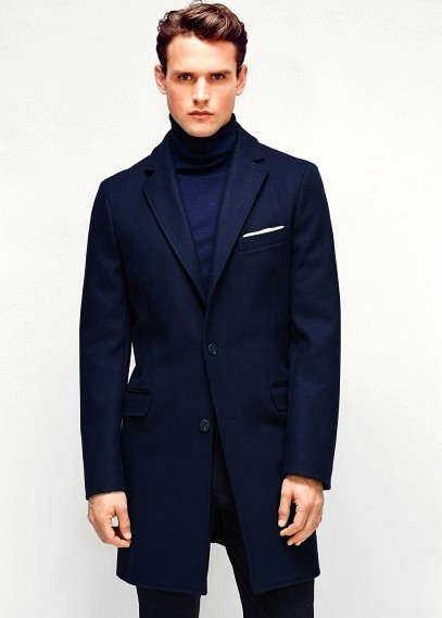 С чем носить темно-синее пальто мужское? - фото