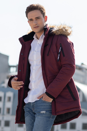 Мужская куртка Аляска бордовая