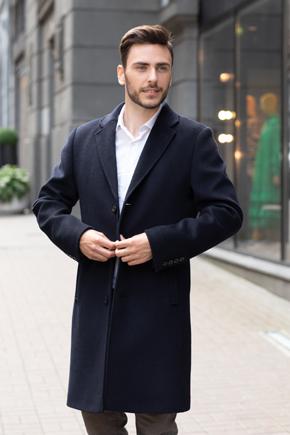 пальто мужское синее