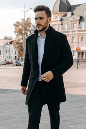 мужское пальто зимнее черное