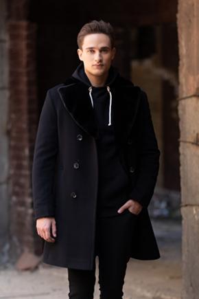 двубортное зимнее пальто мужское