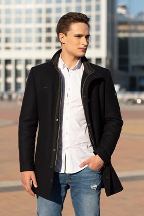 приталенное зимнее пальто мужское