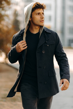 чоловіче зимове пальто з капюшоном