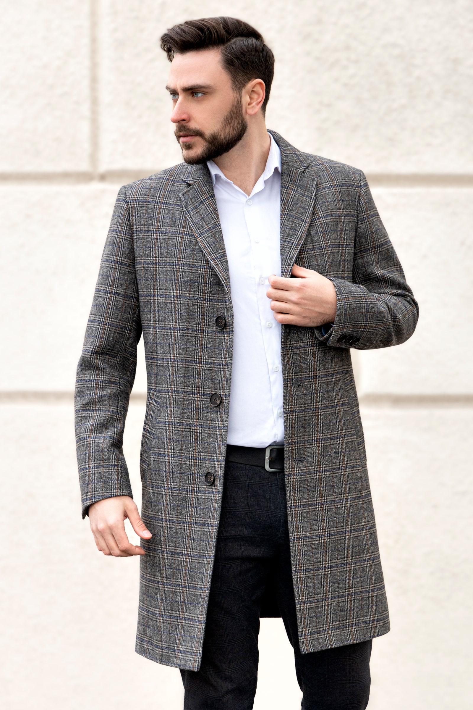 Мужское пальто коричневые - фото