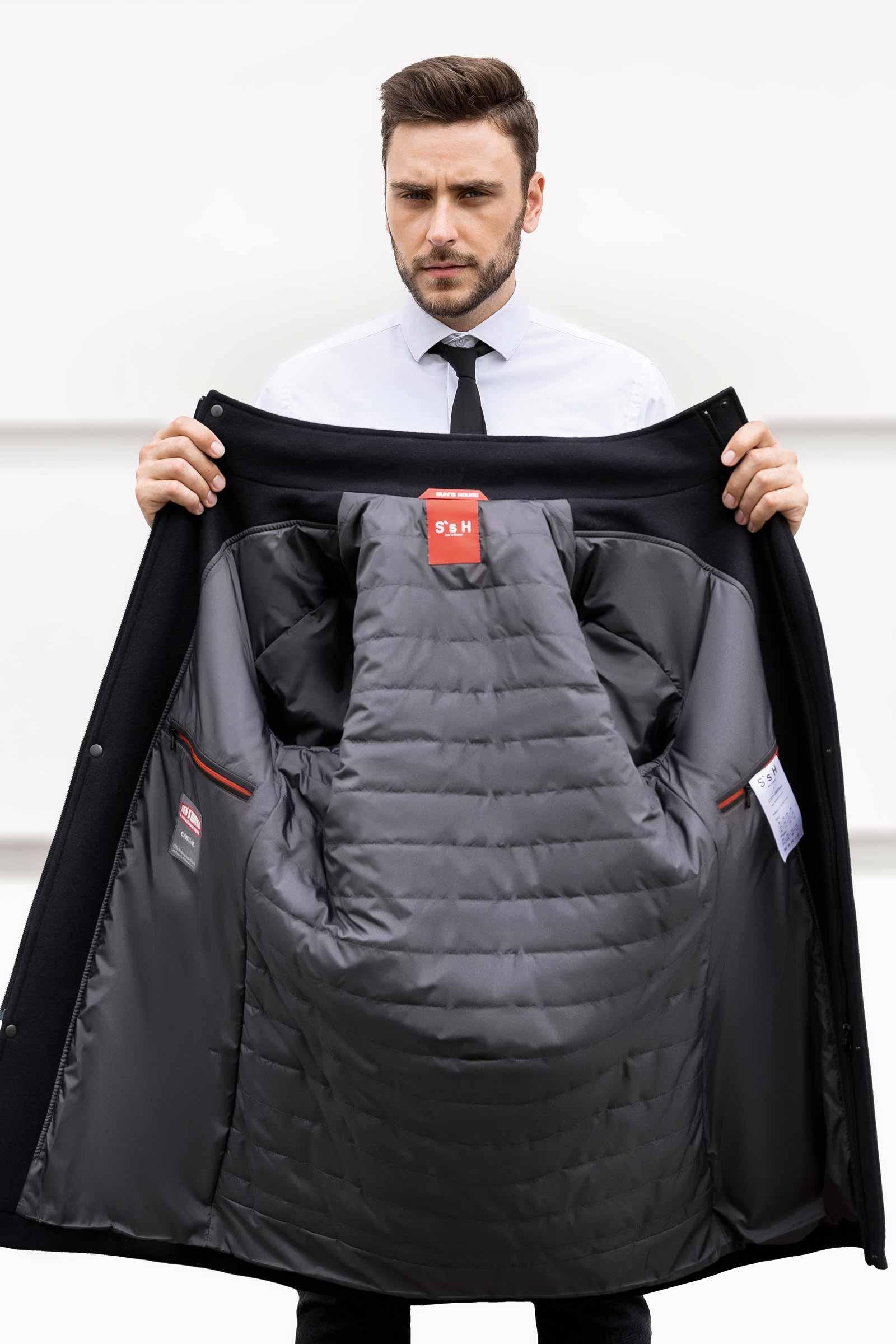 Теплое мужское пальто на зиму