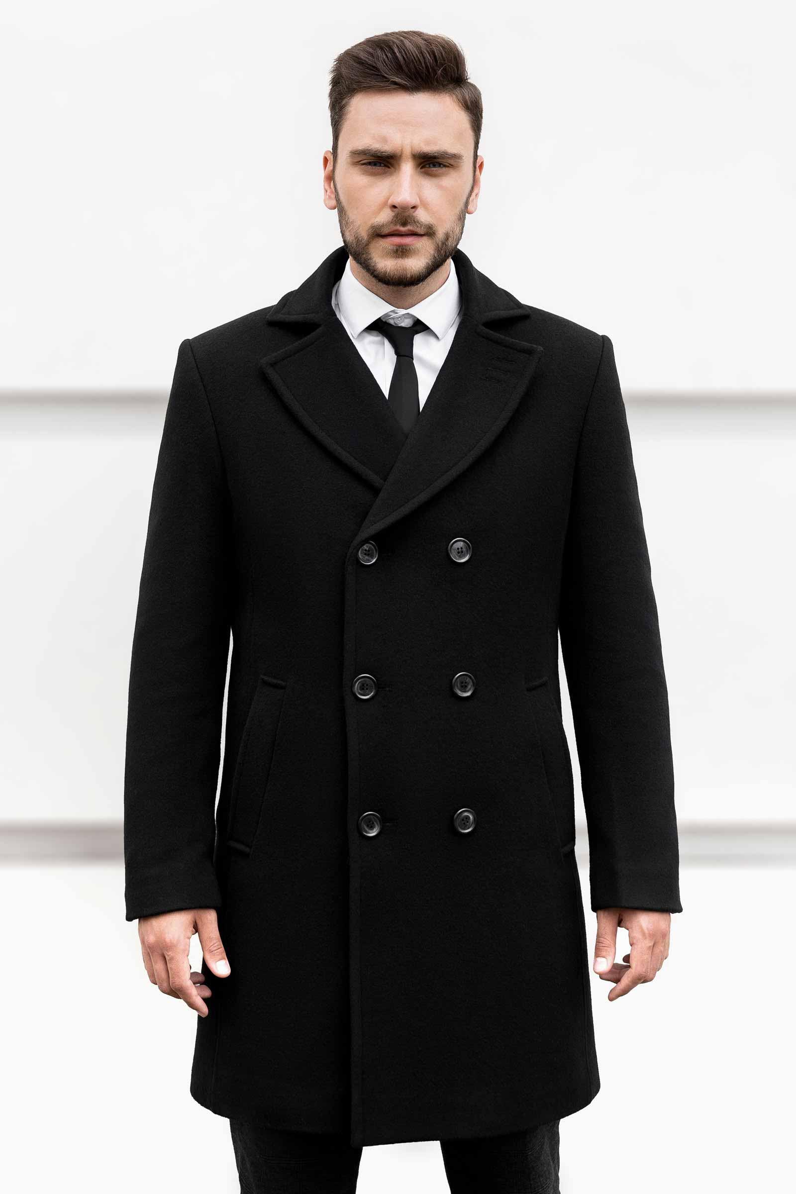 Мужское длинное теплое пальто